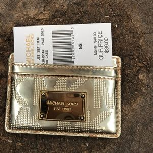 Michael Kors gold logo card case 5 slots